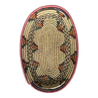 Vintage Southwestern Coiled Basket Tray For Sale