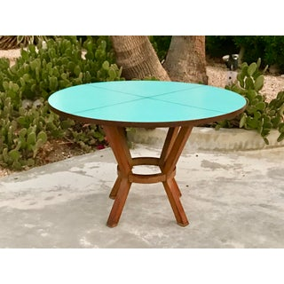 1950s Mid-Century Modern Blue Laminate Table With Aluminum Inlay Preview