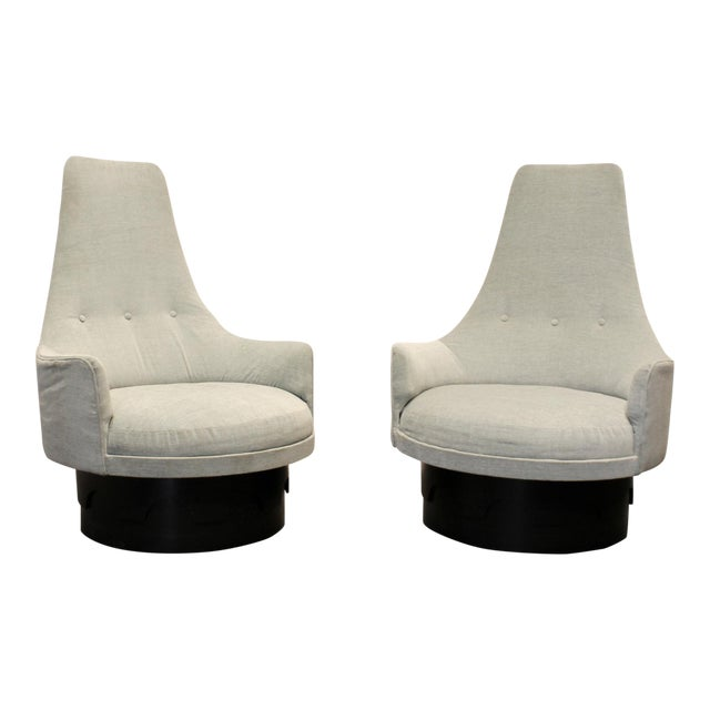 Pair of Mid-Century High Back Swivel Lounge Chairs by Adrian Pearsall For Sale