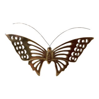 Vintage Brass Butterfly Wall Hanging For Sale