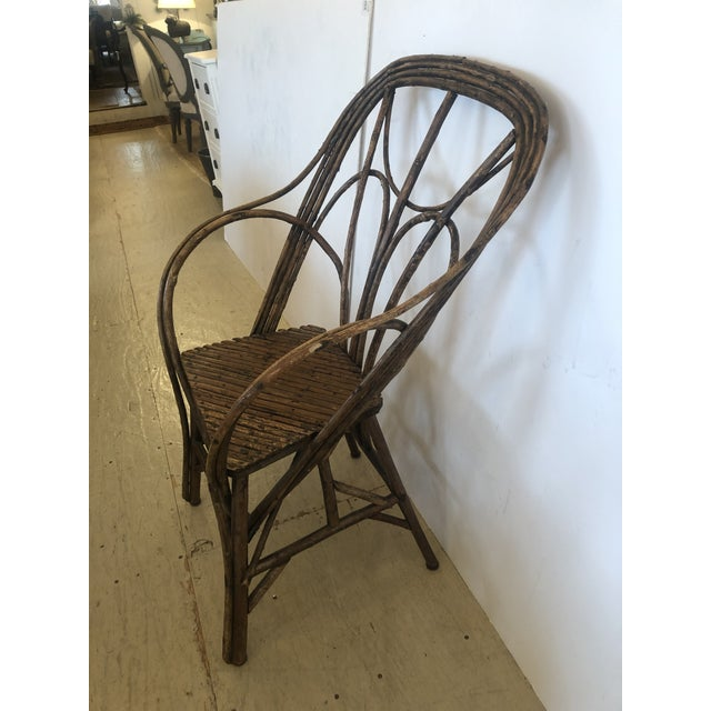 Brown Antique Rustic Adirondack Twig Chair For Sale - Image 8 of 13