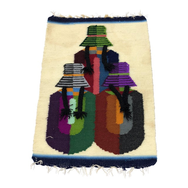 Vintage South American Handwoven Wall Hanging For Sale