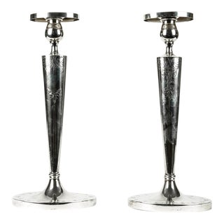 English Sterling Silver Candle Sticks For Sale
