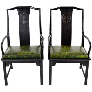 Chin Hua Asian Modern Style Leather Seat Chairs - A Pair For Sale