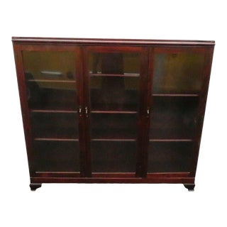 Solid Cherry Large Wide Bookcase Bookshelf Display China Cabinet For Sale