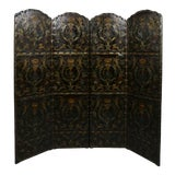 Image of European Embossed Leather Four-Panel Screen For Sale