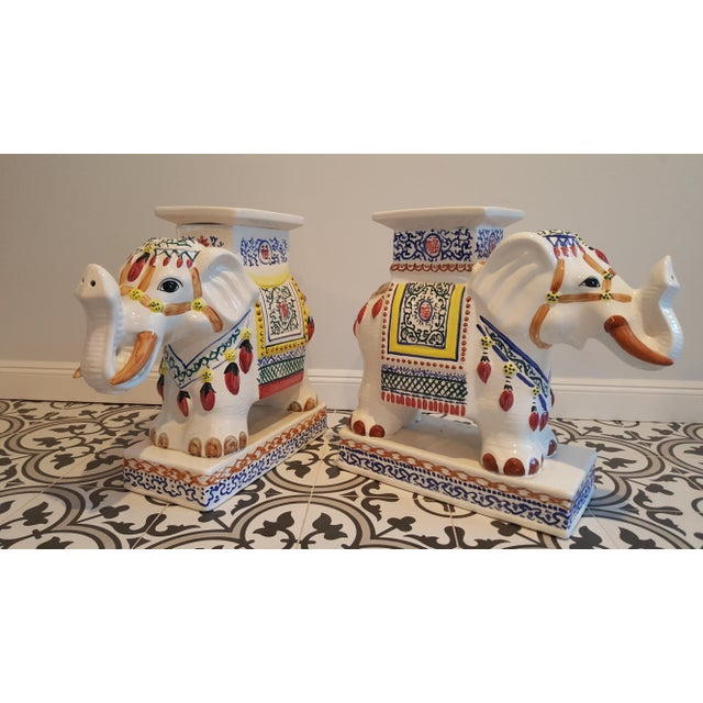 Ceramic Elephant Side Tables - A Pair - Image 2 of 11