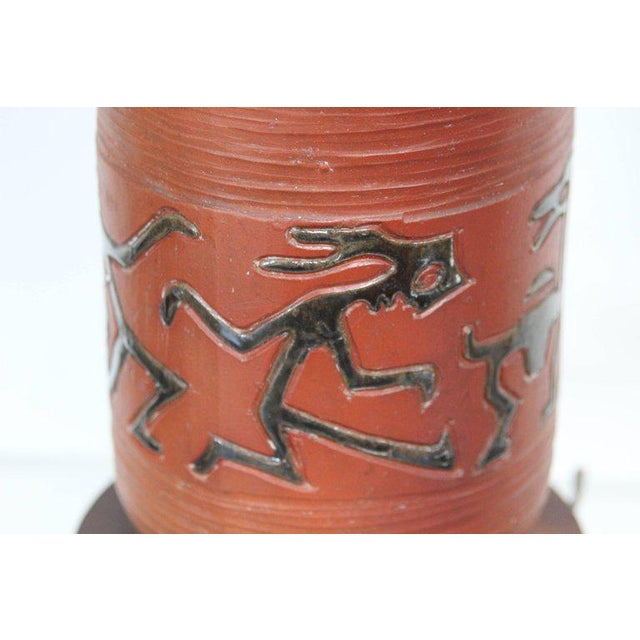 Rust Red Ceramic Table Lamp with Primitive Motif - Image 7 of 9