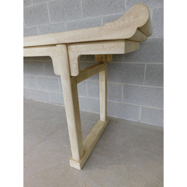 """White McGuire of San Francisco Distressed Finish Pagoda Style Console Table 96""""w For Sale - Image 8 of 13"""