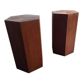 1970s Vintage Teak Pedestals- A Pair For Sale