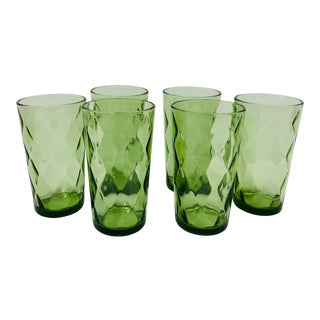 Vintage Diamond Pattern Green Glass Tumblers For Sale