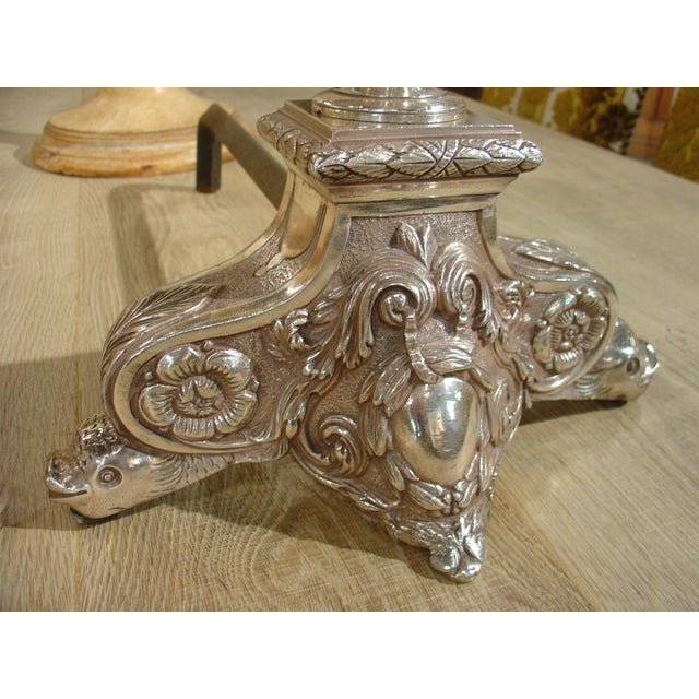 Mid 19th Century Pair of Antique Louis XIV Style Silvered Bronze Andirons For Sale - Image 5 of 8