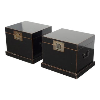 Pair Vintage Rustic Oriental Asian Black End Tables Storage Chest French Country For Sale