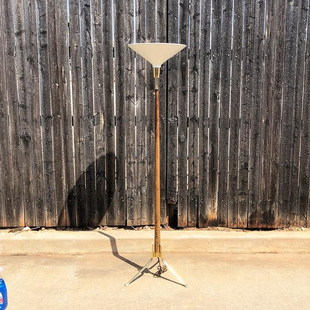 Gold Mid Century Modern Gerald Thurston Teak Brass Three Leg Floor Lamp Circa 1950s For Sale - Image 8 of 8