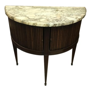 Antique French Demi Lune Console With Tambour Sliding Doors and Marble Top.