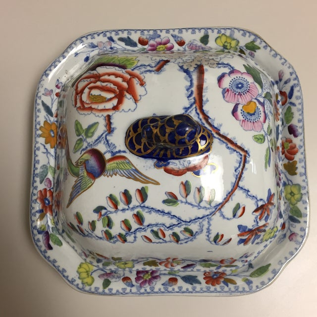 Mason's Ironstone Blue and Red Floral Masons Square Covered Server For Sale - Image 4 of 9