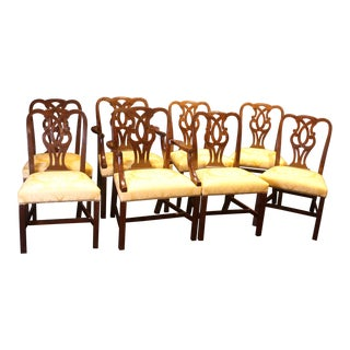Mid 19th Century Vintage Williamsburg Museum Dining Chairs- Set of 8 For Sale