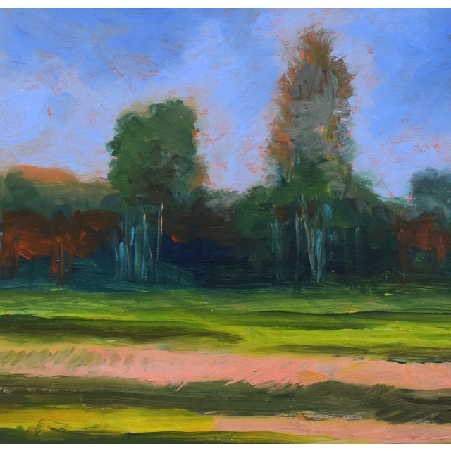 Abstract California Plein Air Foothills & Meadow Oil Painting W/ New Gold Leaf/Gilt Frame For Sale - Image 3 of 7