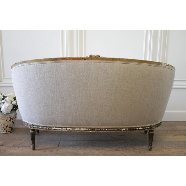 19th Century Louis XVI Style French Settee Upholstered in Antique Grain Sack For Sale - Image 12 of 13