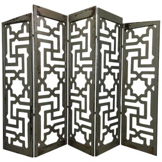 Egyptian Five-Panel Folding Room Divider For Sale
