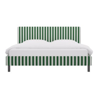 King Tailored Platform Bed in Emerald Cabana Stripe For Sale