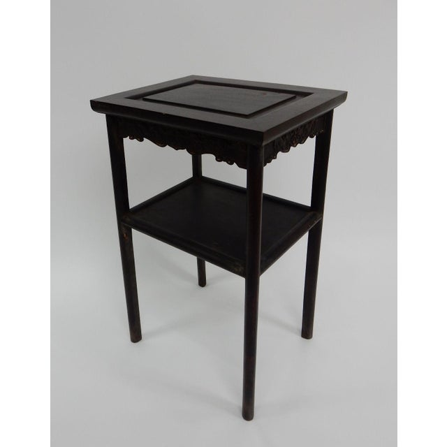 Brown Antique Chinese Zitan Two-Tier Wood Side Table For Sale - Image 8 of 11