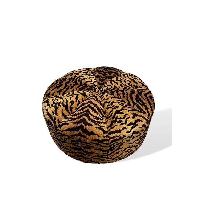 2020s Italian Silky Tiger Woven Heavy Chenille Ottoman For Sale - Image 5 of 10