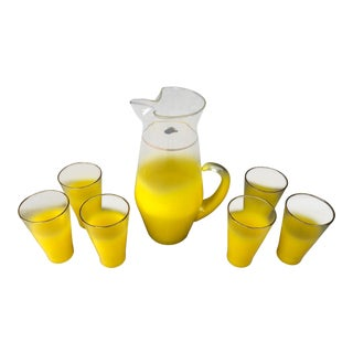 Vintage / Mid Century Modern Blendo West Virginia Glass Yellow Pitcher and Glasses - 7 Piece Set For Sale