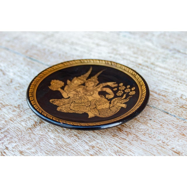 Painted Gilt Thai Plate For Sale - Image 4 of 6