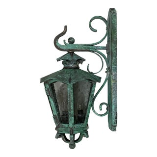Handcrafted Solid Bronze and Brass Wall Lantern For Sale