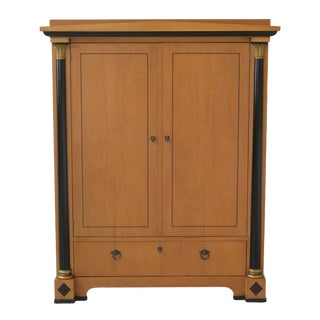 French Empire Baker Satinwood Linen Press Armoire For Sale