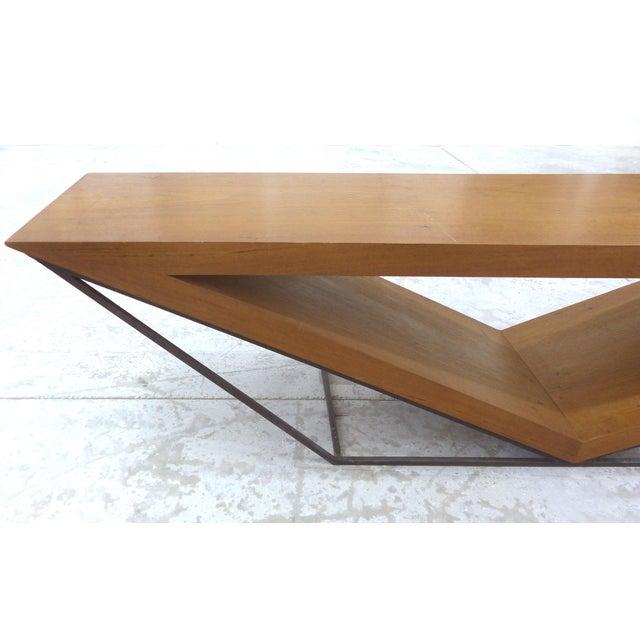 Leonardo Bueno Brazilian Imbuia Wood Sculptural Bench - Image 4 of 8