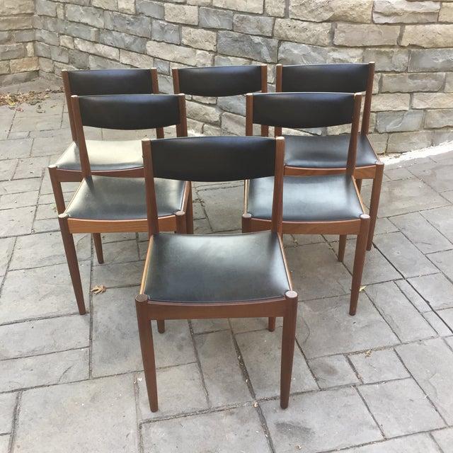 Danish Modern Teak and Black Vinyl Dining Chairs - Set of 6 - Image 2 of 11