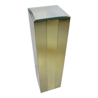 Mirror Topped Brass Pedestal / Column For Sale
