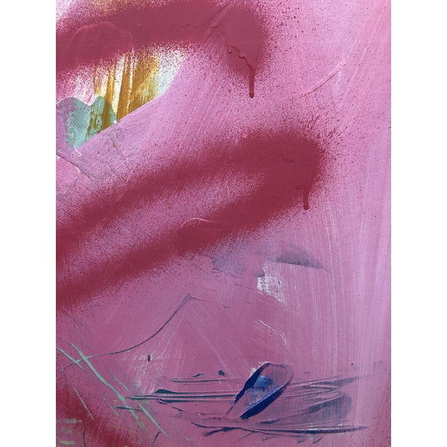 2010s Large Abstract Pink Painting on Panel by Mirtha Moreno For Sale - Image 5 of 11