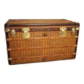 1870s Louis Vuitton Striped Canvas Steamer Trunk.Malle Louis Vuitton For Sale