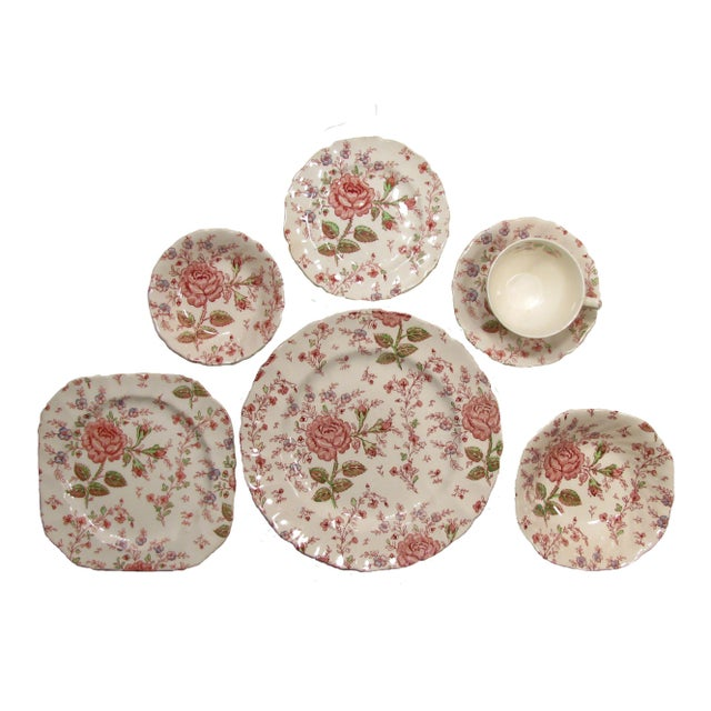 Cottage Vintage English Rose Chintz China Service - Set of 75 For Sale - Image 3 of 10