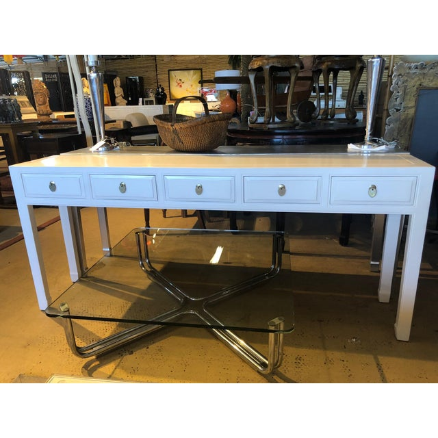 White Asian Modern White Lacquer 5-Drawer Console Table For Sale - Image 8 of 9