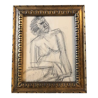Original Charcoal Vintage Female Nude Study Sketch For Sale