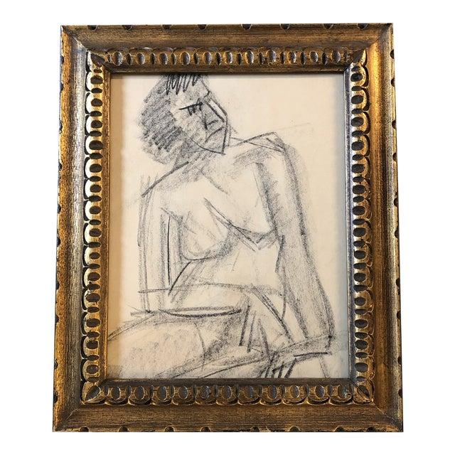 Original Charcoal Vintage Female Nude Study Sketch For Sale