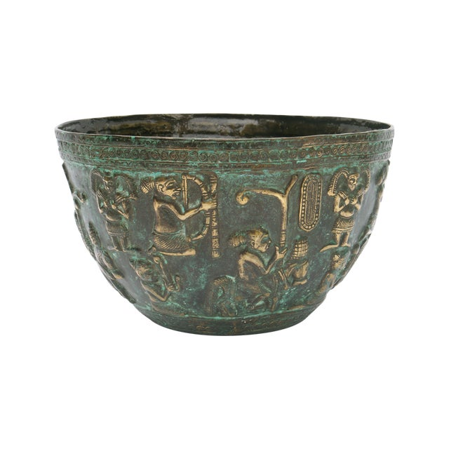 Decorative Indonesian Bronze Bowl For Sale