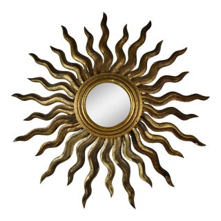 French Hollywood Regency Era Giltwood Sunburst Convex Wall Mirror For Sale