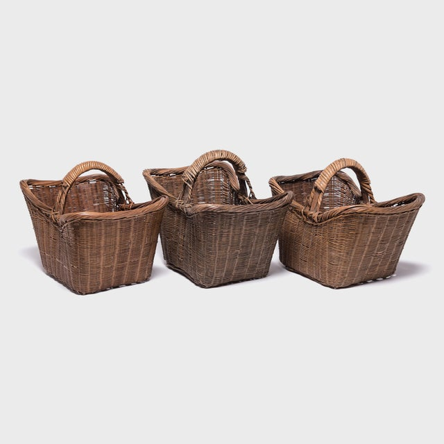 Wood Chinese Twist Woven Market Basket For Sale - Image 7 of 8