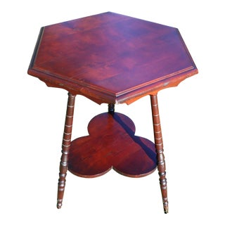 Vintage Solid Cherry Wood Tripod Hexagon 2 Tier Plant Stand Accent Table For Sale