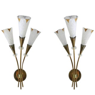 Italian Murano Glass Calla Sconces - a Pair For Sale