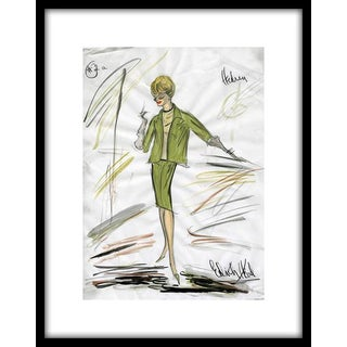 "Reproduction Framed Print of Original Costume Sketch by Edith Head for Tippi Hedren ""The Birds"" (1963) For Sale"