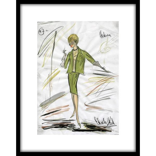 "Reproduction Framed Print of Original Costume Sketch by Edith Head for Tippi Hedren ""The Birds"" (1963) - Image 1 of 4"