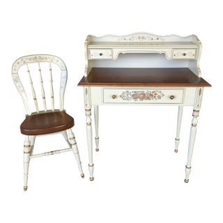 Ethan Allen Hitchcock Style Writing Desk & Chair - A Pair