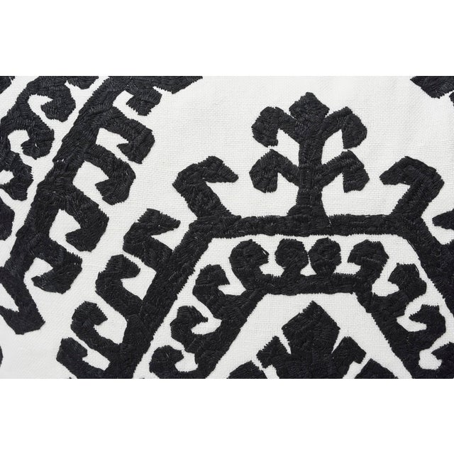 Contemporary Schumacher Double-Sided Pillow in Omar Embroidery Print For Sale - Image 3 of 6
