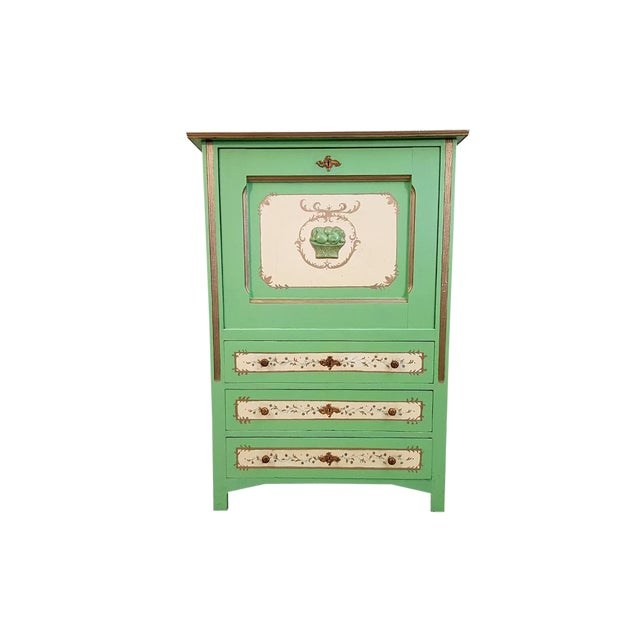 French Antique Early 1920s Handpainted Gilted Imperial Style Charming Secretaire Credenza For Sale